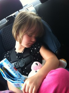 Finally asleep after 40 minutes in the car