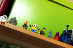 Above my desk, joined by the Doctor and his friends